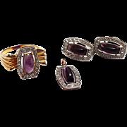 SOLD Art Deco 18K Gold Amethyst & Diamond Ring / Earring / Pendant Suite