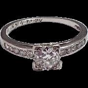 SOLD Platinum c1930 Diamond Engagement Ring ~ .46CT Solitaire ~ G Color