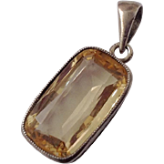 Antique 14K 5.5 CT Citrine Pendant ~ Basket Weave Mounting c1910