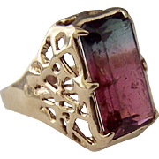 6.77CT Watermelon Tourmaline Estate Ring ~ 18K Gold Hand Wrought Mounting