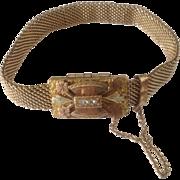 SALE c1884 Victorian Tri Colored GF Flower Clasp Mesh Bracelet