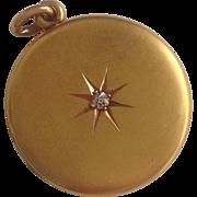 SALE Antique 14K Gold & Diamond Locket