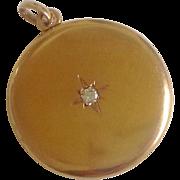 SALE Large Antique 14K Gold & Diamond Locket