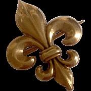 Antique 14K Gold Classic Puffy Fleur de Lis Watch Pin