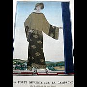 RARE 1920s Art Deco GAZETTE BON TON Pochoir Fashion Print & Mat Poiret 1923