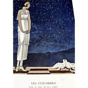 SALE RARE 1920s Art Deco GAZETTE BON TON Pochoir Fashion Print & Mat Poiret 1924