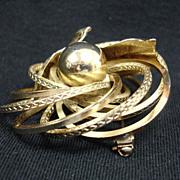 Vintage Mid Century Modern Gold Tone Brooch