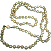 "Vintage Faux Pearl Necklace - Beautiful 29"" LONG Single Stand - Hand Knotted Pearl Necklace"