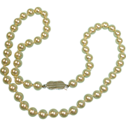 Vintage Hand Knotted Faux Pearl Single Strand Necklace