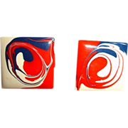 Vintage Red White and Blue Enamel Pierced Earrings