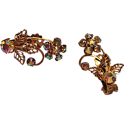 Vintage Aurora Borealis Rhinestone Earrings - Ear Climber Style Earrings