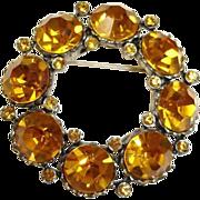 Gold Rhinestone Circle Pin Brooch - Vintage Rhinestone Jewelry
