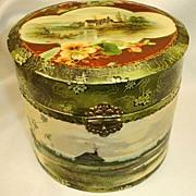 Antique Celluloid Collar and Cuff Box - Victorian Round Collar Box
