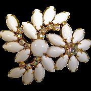 Vintage White Milk Glass and Rhinestone Brooch - Vintage Rhinestone Jewelry