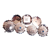 Vintage MEXICO  Sterling Silver Fancy Disk Bracelet - Vintage STERLING Silver Jewelry
