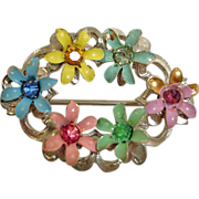 Vintage 1940's Flower Pin with Rhinestone Centers – Vintage Rhinestone Jewelry