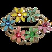 SALE Vintage 1940's Flower Pin with Rhinestone Centers – Vintage Rhinestone Jewelry