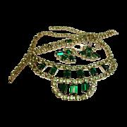 SALE Vintage Green Rhinestone Parure - Necklace Bracelet and Earrings Set