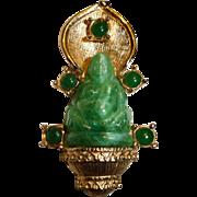 Vintage Hattie Carnegie Green Peking Glass Buddha Brooch - Hattie Carnegie  Sitting Buddha Jew