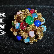 Vintage 14K Gold Domed Multi Gem Stone Ring - Size 6 3/4 USA Princess Ring