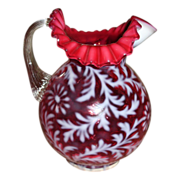 SALE Vintage Large CRANBERRY and Opalescent Daisy and Fern Pattern BALL Pitcher