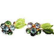 Vintage HOBE Rhinestone & Enameled Green Leaf Earrings - Blue and Green Earrings