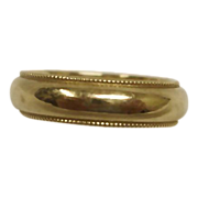 14K Yellow Gold Ring - Vintage 14K Gold Band Ring - Size 6 1/4