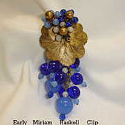 Vintage Miriam Haskell - Frank Hess Design - Blue Glass Dangling Clip Brooch Haskell Jewelry