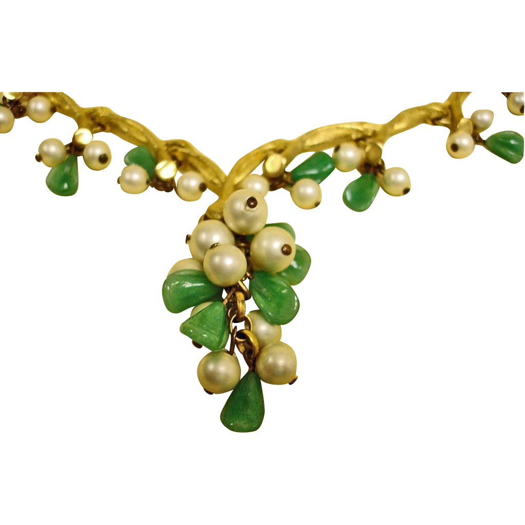 Vintage KRAMER Necklace – Green Glass and Faux Pearl Necklace