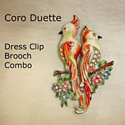Vintage Coro DUETTE Fur Clip Combination Brooch – 1940's CORO Bird Jewelry