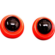 Vintage Red and Black Pierced Earrings
