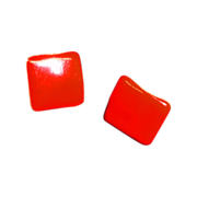 Vintage Red Enamel Pierced Earrings