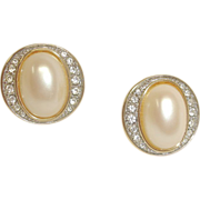 Vintage Faux Pearl and Rhinestone PIERCED Earrings