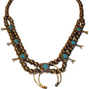 Vintage Small Squash Blossom Necklace - Native American Sterling and Turquoise Jewelry