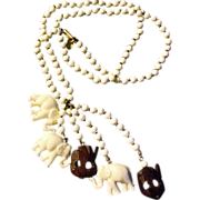 Vintage  MIRIAM HASKELL  Lucky Elephant Necklace