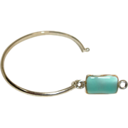 SALE Silver Tone Bracelet with Turquoise Blue Stone