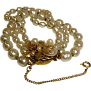 Miriam HASKELL  Multi  Strand Faux Baroque Pearl Bracelet with Safety Chain – Vintage Miriam