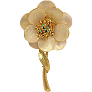 Vintage CAPRI Pin Brooch - Mother of Pearl, Glass Seed Pearls and Turquoise Seed Beads  - Flow