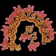 Vintage NAPIER Pink Elephant Charm Bracelet and Earrings Set – Napier Demi Parure Jewelry