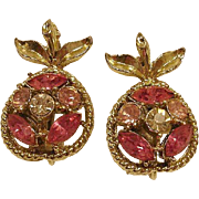 Vintage CORO Clip Rhinestone Earrings  - Southern Peaches - Peach Earrings -  Coro Rhinestone Jewelry