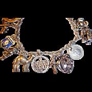 Vintage Sterling Silver Charm Bracelet - 14 Charms