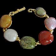 Vintage Polished Gem Stones Bracelet - Agate and Carnelian