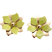 Vintage Gold Tone And Chartreuse  Green-Yellow Clip Earrings