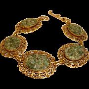 Vintage  1970's Adventurine Bracelet - Solid Copper