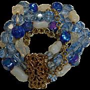 Vintage Blue Faceted Crystal and Art Glass Beads Bracelet  - 5 Strand Fancy Clasp Bracelet