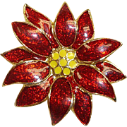 Estate Christmas Pin -  Signed SFJ  -  Red and Gold Color Poinsettia Brooch - Flower Holiday .