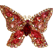Vintage WEISS Signed Butterfly Brooch Pin