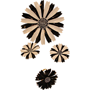 Vintage Crown Trifari Black & White Flower Parure - Brooch Earrings and Ring Set - Vintage Dai
