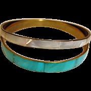 Vintage Bangle Bracelets - 2 Bracelets - Mother of Pearl Bracelets - MOP Bracelets