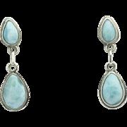 Vintage Sterling Silver Double Raindrop Larimar Pierced Earrings